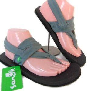 Sanuk Mat Yoga Sandals 8 Sling Gray Textile Flip F